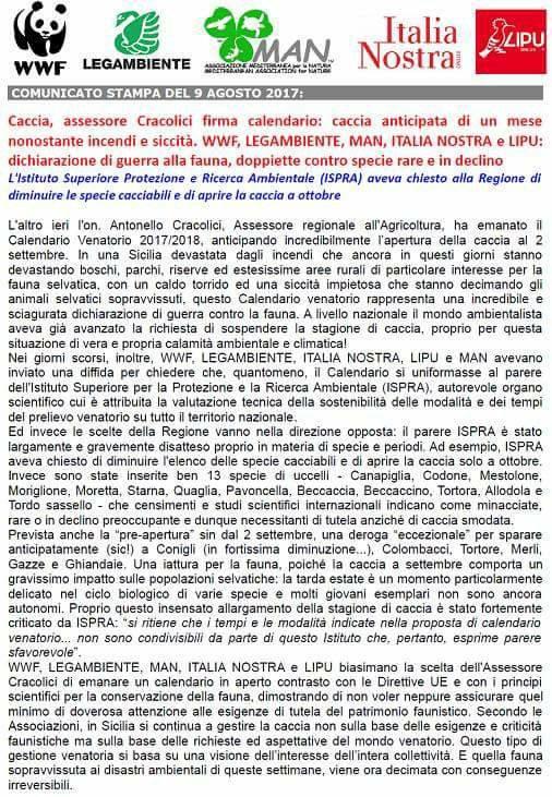 Calendario Venatorio Sicilia.Calendario Venatorio In Sicilia Comunicato Delle