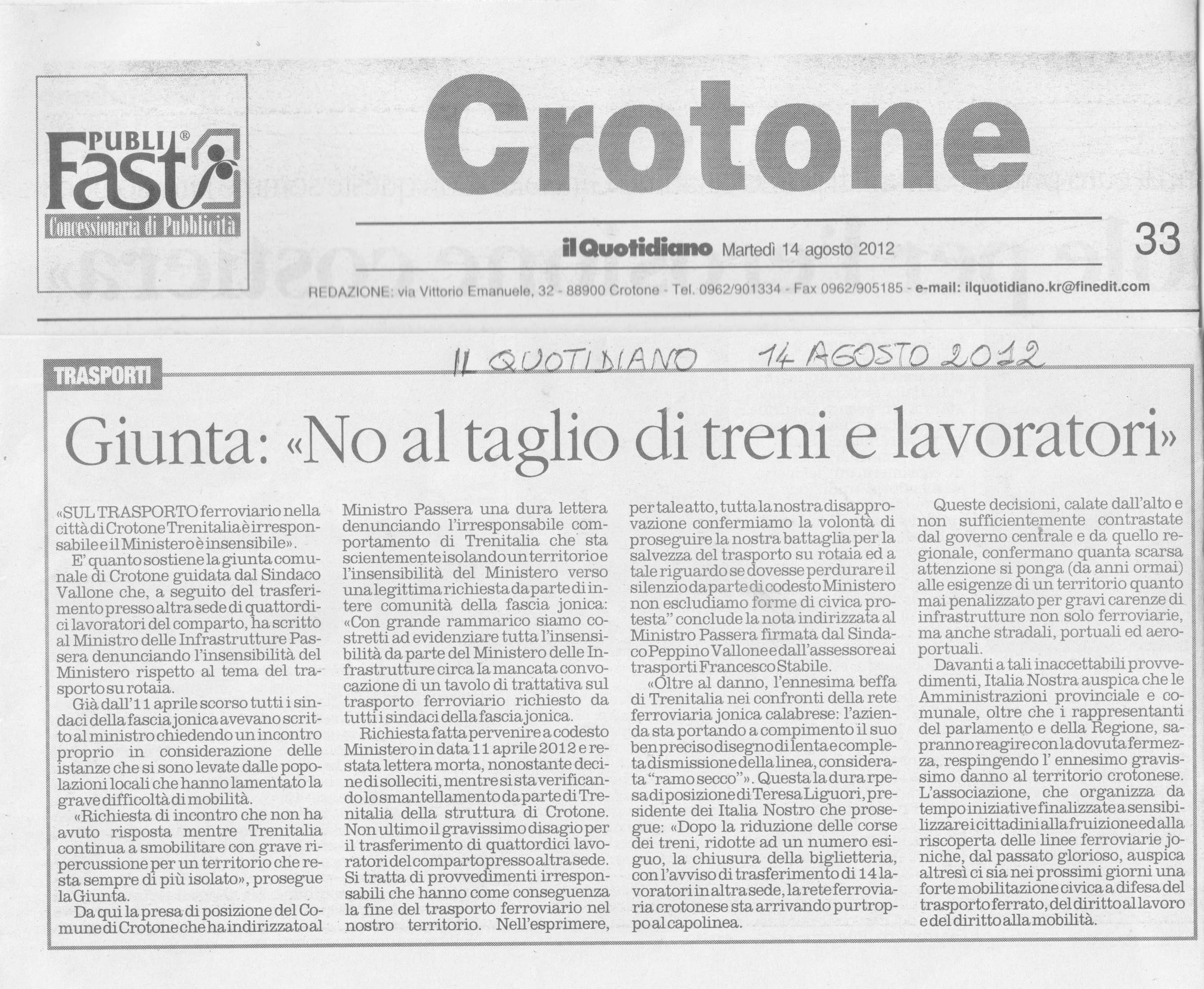 La Linea Ferroviaria Jonica Crotonese Al Capolinea Italia Nostra